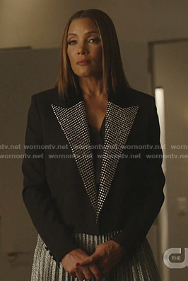 Dominique's black embellished lapel jacket on Dynasty