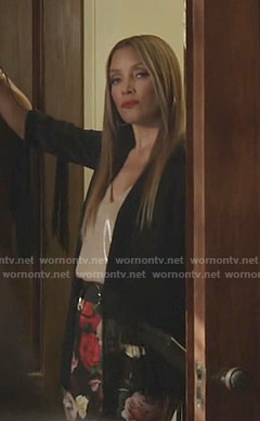 Dominique's black fringe jacket and floral skirt on Dynasty