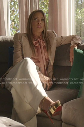 Dominique's peak lapel blazer and tie neck blouse on Dynasty