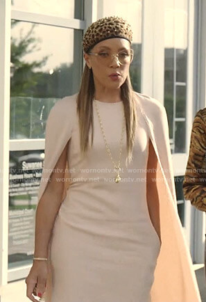 Dominique's pink cape dress on Dynasty