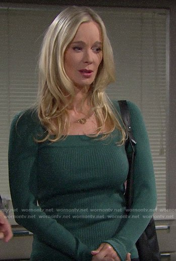 Donna's green square neck sweater on The Bold and the Beautiful