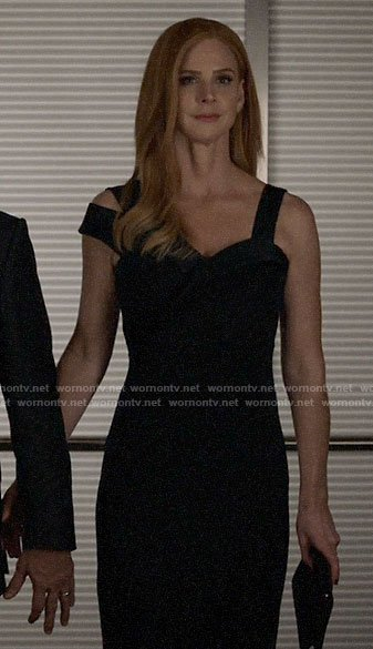 Donna's navy asymmetric strap dress on Suits