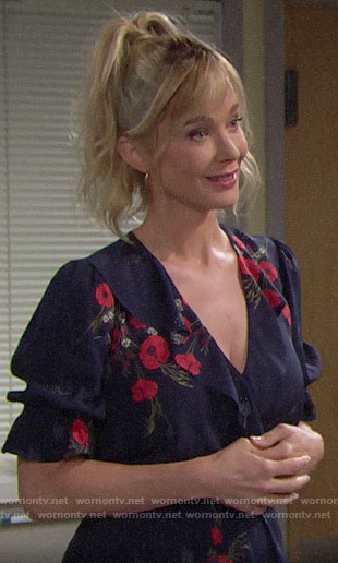 Donna's floral ruffled top on The Bold and the Beautiful