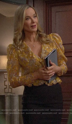 Donna's yellow floral metallic blouse on The Bold and the Beautiful