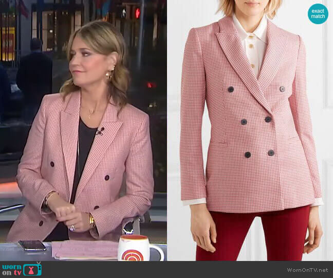 Double-Breasted Houndstooth Blazer by Cefinn worn by Savannah Guthrie  on Today