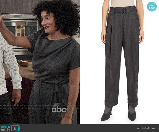 Dries van Noten Pleated Cuffed Pants worn by Rainbow Johnson (Tracee Ellis Ross) on Blackish