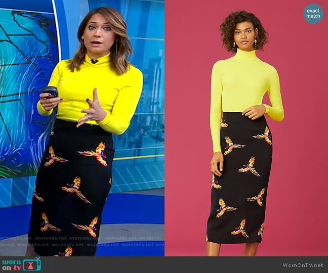 Jelena Two Turtleneck Top and Tailored Midi Pencil Skirt by Diane von Furstenberg worn by Ginger Zee  on Good Morning America