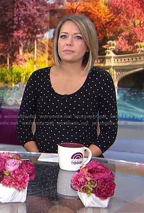 Dylan's black polka dot maternity dress on Today
