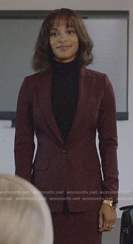 Edie's burgundy skirt suit on Almost Family