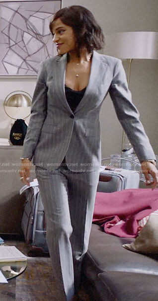 Edie's grey pinstripe suit on Almost Family