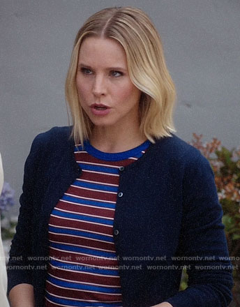 Eleanor's red and blue striped top on The Good Place