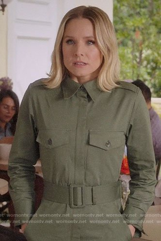 Eleanor's green belted jumpsuit on The Good Place
