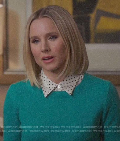 Eleanor's star print shirt and green sweater on The Good Place