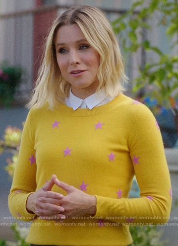 Eleanor's yellow star print sweater on The Good Place