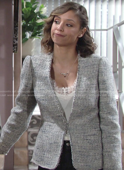 Elena's tweed jacket on The Young and the Restless