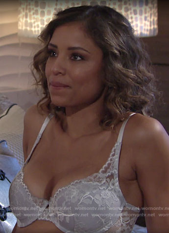 Elena's white lace bra on The Young and the Restless