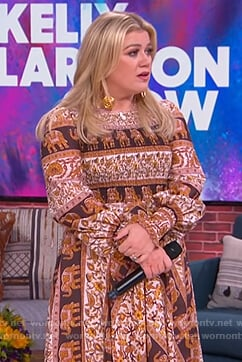 Kelly's smocked elephant print dress on The Kelly Clarkson Show