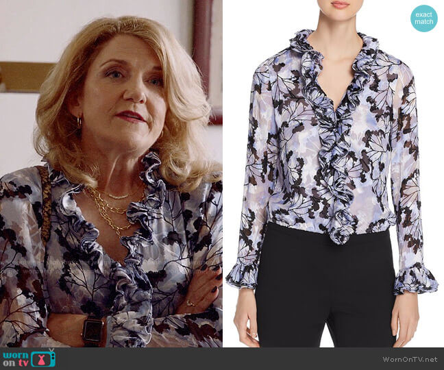 Elie Tahari Chandana Ruffled Floral-Burnout Top worn by Diane Doyle (Victoria Clark) on Almost Family
