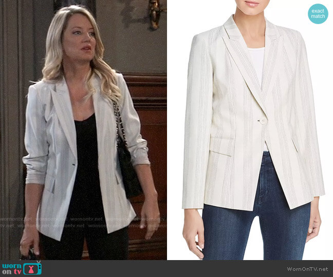 Elie Tahari Kiersten Striped One-Button Blazer worn by Nina Reeves (Cynthia Watros) on General Hospital