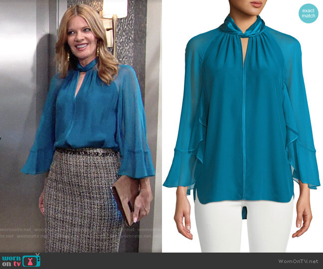 Elie Tahari Adrianna Blouse worn by Phyllis Summers (Michelle Stafford) on The Young & the Restless