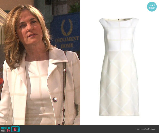 Elie Tahari Lacey Windowpane Dress worn by Eve Donovan (Kassie DePaiva) on Days of our Lives