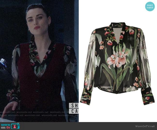 Elie Tahari Laya Blouse worn by Lena Luthor (Katie McGrath) on Supergirl