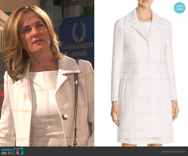 Elie Tahari Orla Windowpane Coat worn by Eve Donovan (Kassie DePaiva) on Days of our Lives