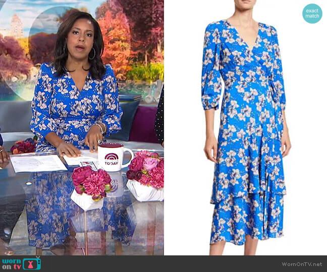 Floral Faux Wrap Asymmetric Ruffle Midi Dress by Eliza J worn by Sheinelle Jones  on Today