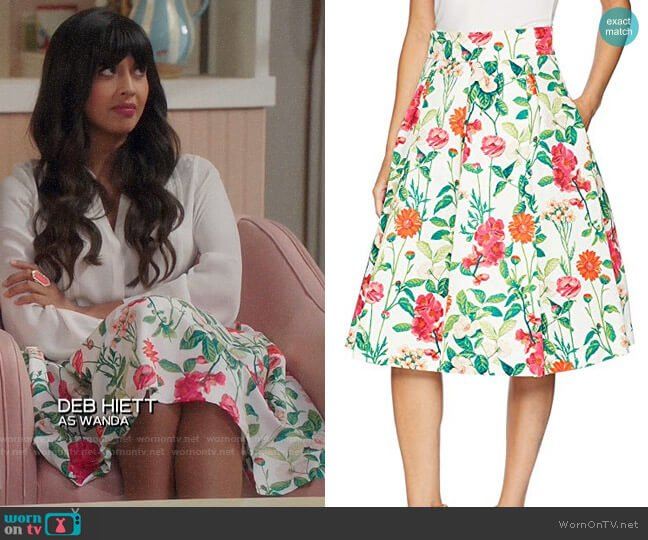 Eliza J Floral Midi Skirt worn by Tahani Al-Jamil (Jameela Jamil) on The Good Place