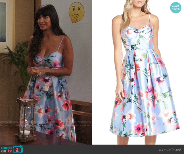Eliza J Floral Print Satin Cocktail Dress worn by Tahani Al-Jamil (Jameela Jamil) on The Good Place