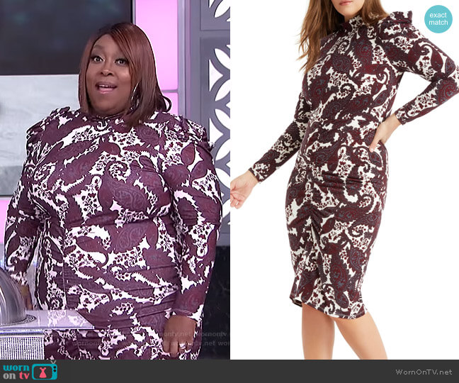 Paisley Long Sleeve Stretch Jersey Dress by Eloquii worn by Loni Love  on The Real