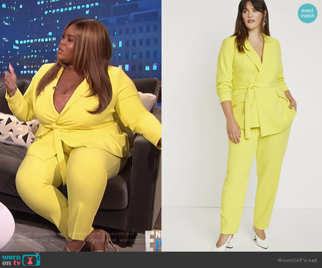 Tie Waist Long Blazer and Tailored Ankle Trouser by Eloquii worn by Nina Parker  on E! News