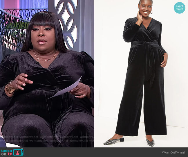 Velvet Jumpsuit by Eloquii worn by Loni Love  on The Real