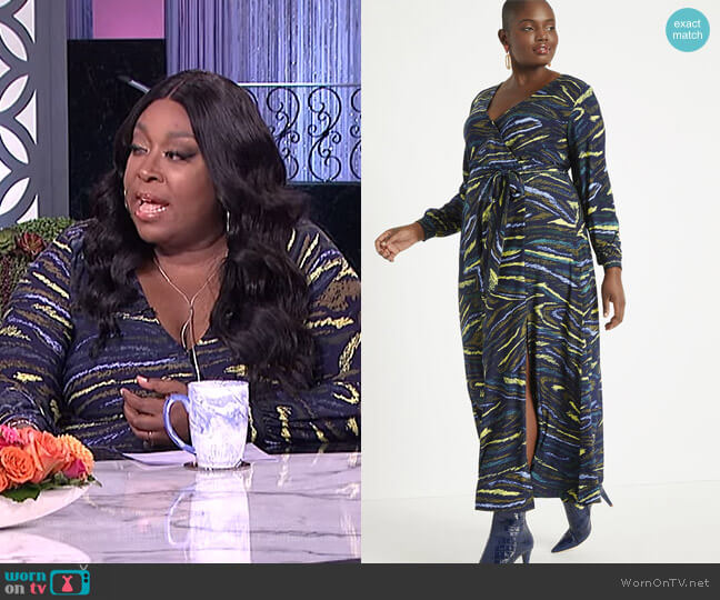 Wrap Maxi Dress by Eloquii worn by Loni Love  on The Real
