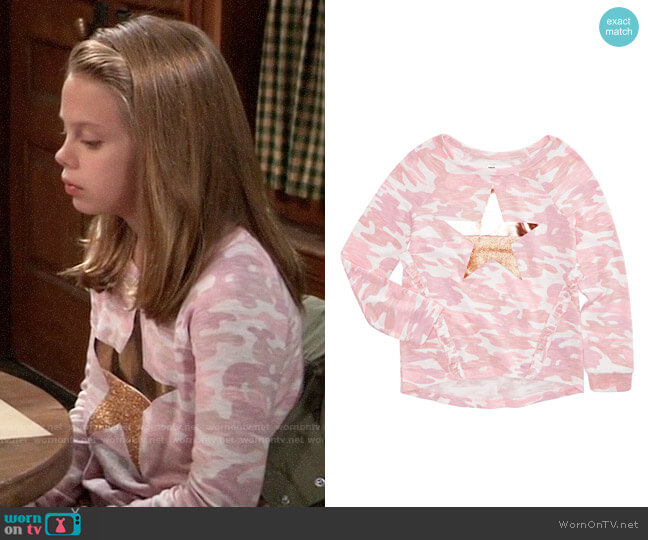 Epic Threads Big Girls Camo-Print Top worn by Charlotte on General Hospital