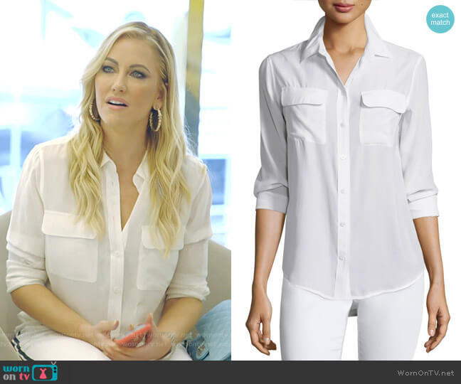 Slim Signature Silk Shirt by Equipment worn by Stephanie Hollman  on The Real Housewives of Dallas