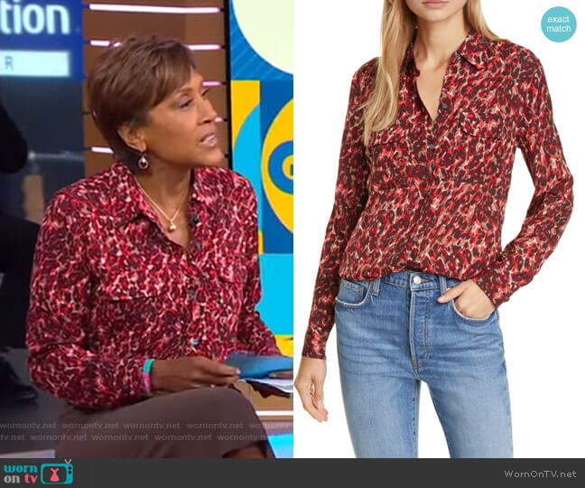 Slim Signature Shirt by Equipment worn by Robin Roberts  on Good Morning America