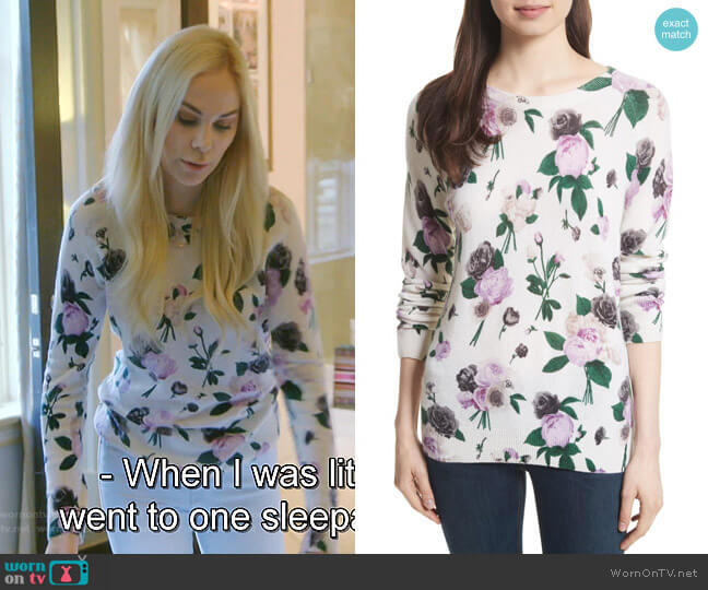 Sloane Floral Print Cashmere Sweater by Equipment worn by Kameron Westcott  on The Real Housewives of Dallas