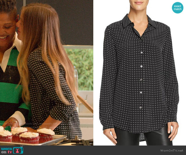 Equipment Essential Dotted Silk Shirt worn by McAfee (Laura Dreyfuss) on The Politician