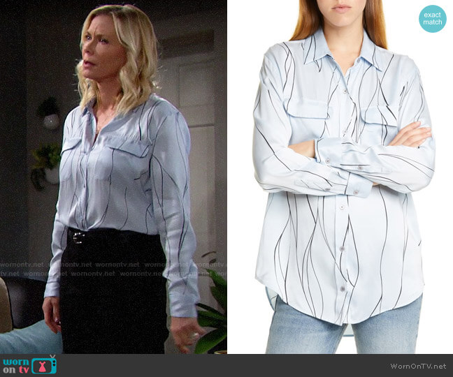Equipment Blue Aere Eclpse Slim Signature Silk Shirt worn by Brooke Logan (Katherine Kelly Lang) on The Bold & the Beautiful