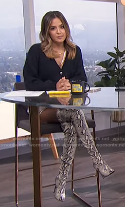 Erin's navy cardigan and snake print boots on E! News Daily Pop