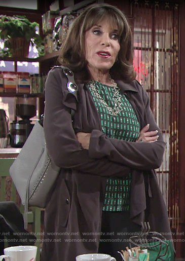 Esther's green geometric print top on The Young and the Restless