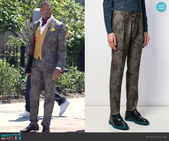 Floral-Print Chinos by Etro worn by Lucious Lyon (Terrence Howard) on Empire