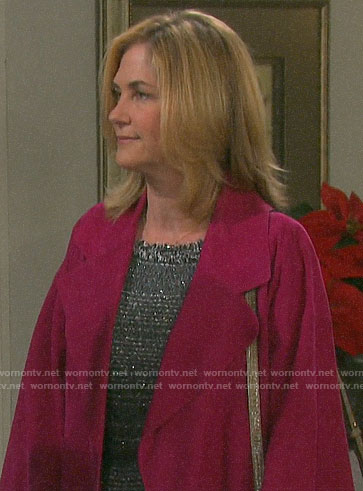 Eve's pink suede coat on Days of our Lives