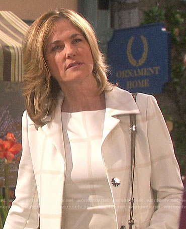 Eve's white checked dress and coat on Days of our Lives