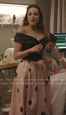 Fallon's black top and pink polka dot skirt on Dynasty