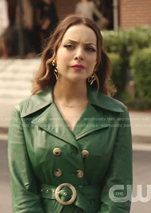 Fallon's green belted leather coat on Dynasty