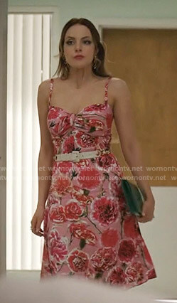 Fallon's pink floral asymmetric dress on Dynasty