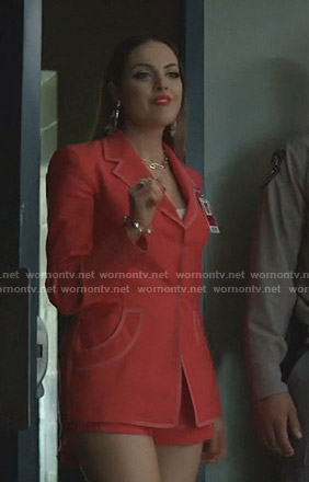 Fallon's red blazer and shorts on Dynasty