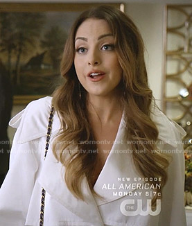 Fallon's white trench coat on Dynasty